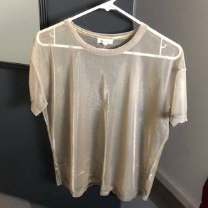 Sheer mesh gold shirt